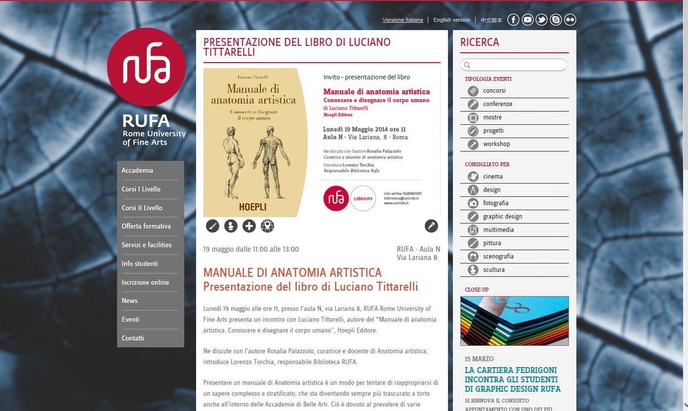 LUCIANO TITTARELLI - RUFA - ROME UNIVERSITY OF FINE ARTS - MANUALE ANATOMIA ARTISTICA
