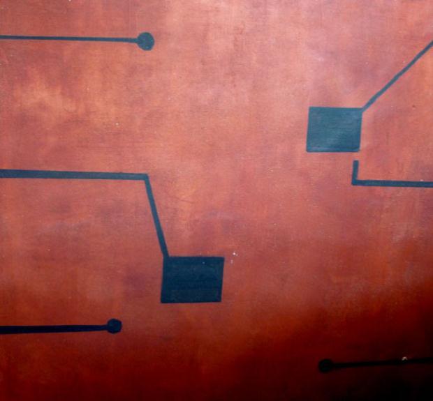 Luciano Tittarelli - Anni 00 - affresco-con-circuiti-elettronici-2009