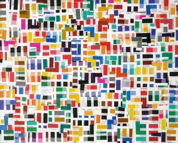 Luciano Tittarelli - Anni 00 - campionario-di-colori-2006-collage-su-tela-dim-40x50