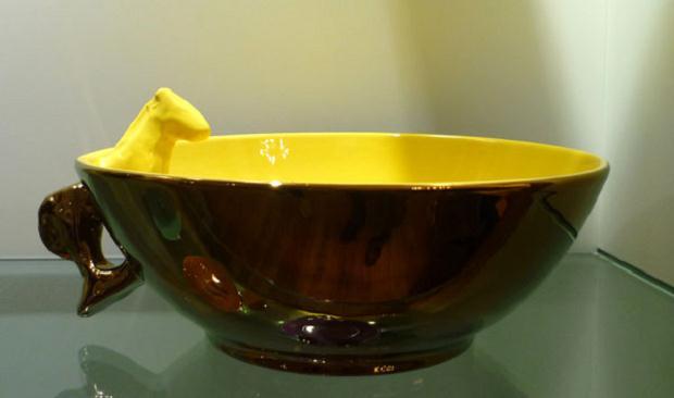 Luciano Tittarelli - Anni 00 - ciotola-a-riflesso-rame-e-giallo-cadmio-2009-larg-cm-22-ceramiche-bizzirri
