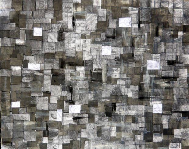 Luciano Tittarelli - Anni 00 - collage-di-grafite-e-carbone-su-tela-2004