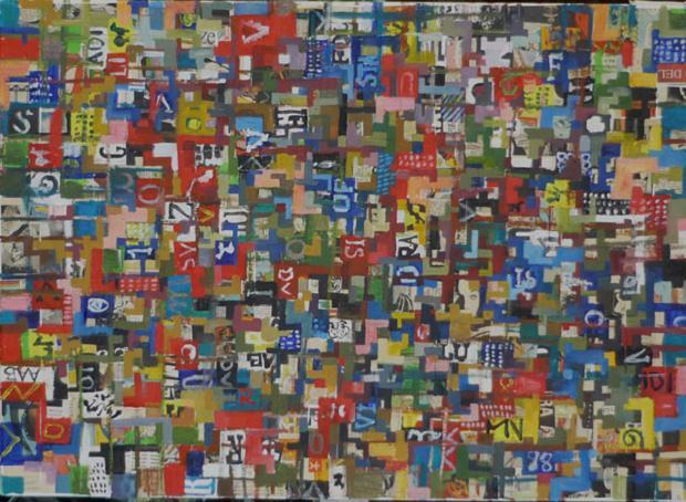 Luciano Tittarelli - Anni 00 - pixel-2-2006-olio-su-tela-cm-50x70