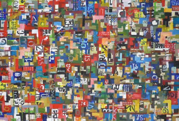 Luciano Tittarelli - Anni 00 - pixel-abbeccedario-2006-olio-su-tela-cm-50x70