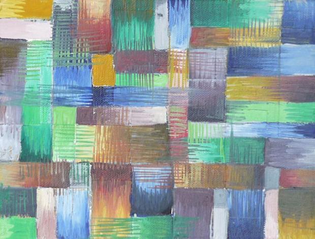 Luciano Tittarelli - Anni 00 - pixel-verde-e-azzurro-olio-su-tela-2004