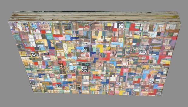 Luciano Tittarelli - Anni 00 - sovrapposizione-2006-olio-e-collage-su-tele-sovrapposte-cm-50x70