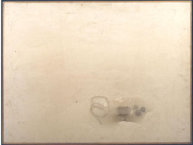 Luciano Tittarelli - Anni 70 - tappi-e-cordella-materiali-vari-su-tela-100x70-1979