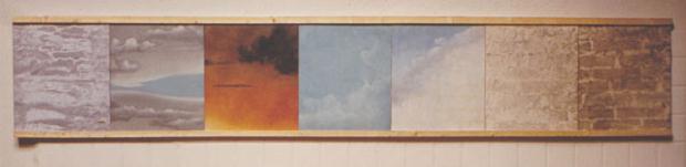 Luciano Tittarelli - Anni 80 - cielomuro-lavoro-in-collaborazione-con-r-paoletti-tecnica-mista-su-tela-dim-350-x-70-cm-1980ca