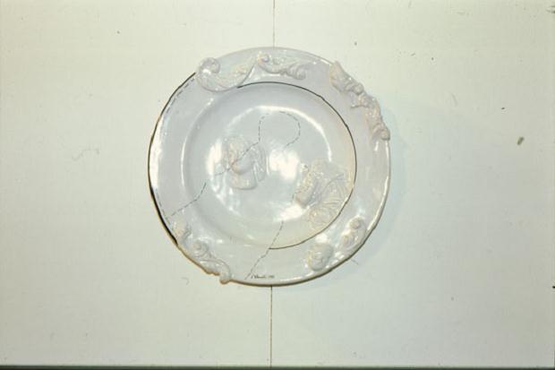 Luciano Tittarelli - Anni 80 - composizione-1988-piatto-cm-35-maiolica