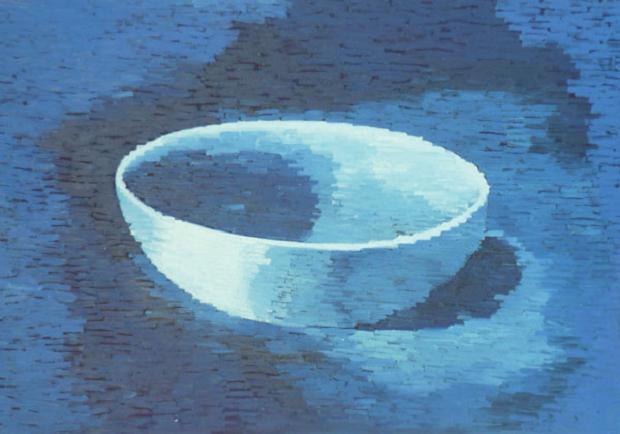 Luciano Tittarelli - Anni 90 - ciotola-e-pixel-1996-olio-su-tela-cm-70x100