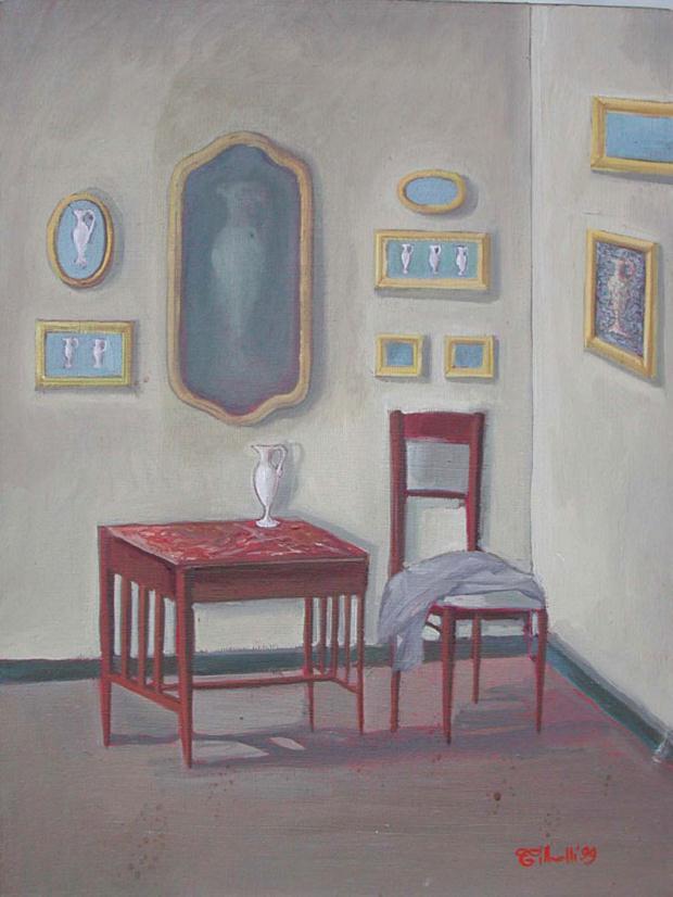 Luciano Tittarelli - Anni 90 - interno-con-giacca-1999-olio-su-tela-cm-40x60