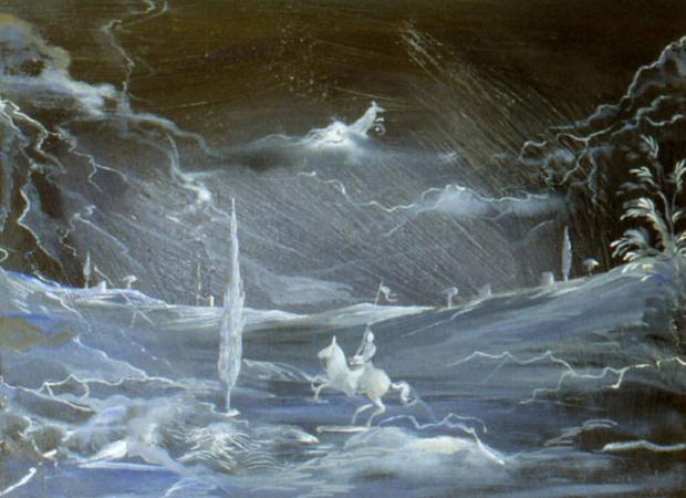Luciano Tittarelli - Anni 90 - paesaggio-con-cavallino-e-cipreso-1999-olio-su-tela-cm-30x40